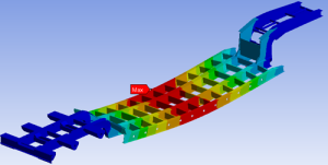 FEA Deformation plot of a semi-trailer frame under load