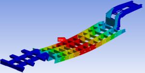 FEA Deformation plot of a semi-trailer frame under load