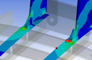 FEA stress plot of a welded sub-model section highlighting high stress hot spots
