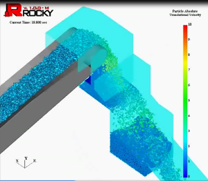 Chute conveyor simulation in ROCKY 3.0