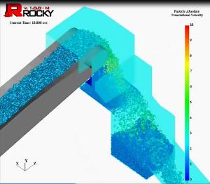 Chute conveyor simulation in ROCKY 3.0