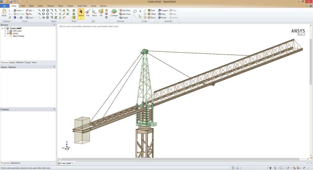 CAD geometry of a crane