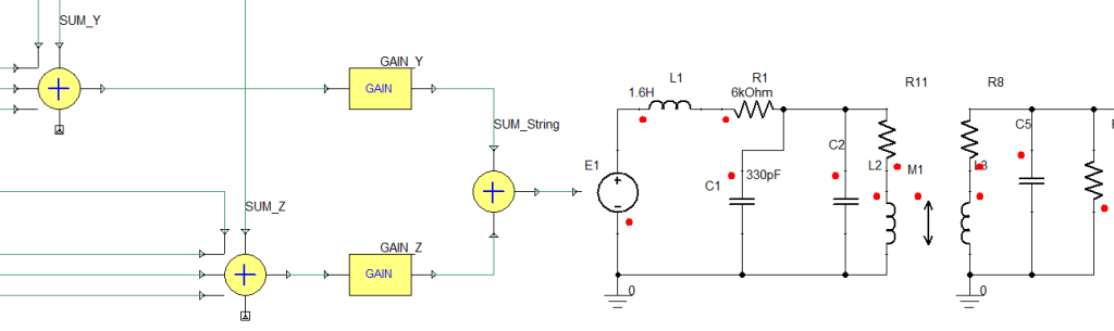 Transferring the output signal from magnetic pickups to the electronic circuits
