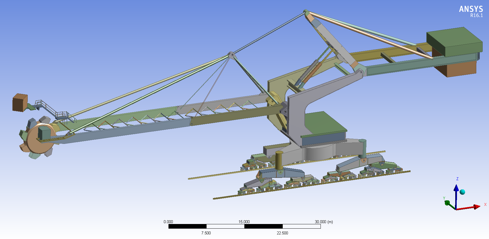 Large scale reclaimer assembly which will be analysed using ANSYS