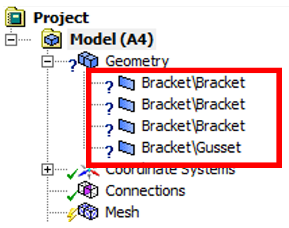 Bracket model imported into ANSYS mechanical