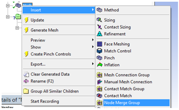 Node Merge group option in ANSYS 17.0