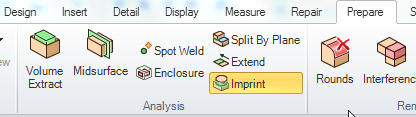 Imprint tool in Spaceclaim to assist with the mesh connections approach to fabricated structures
