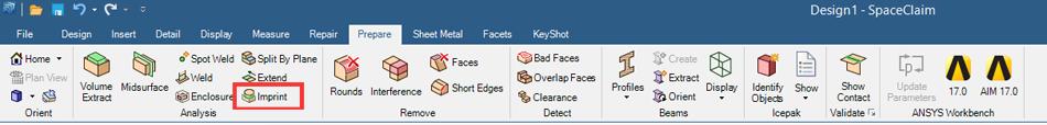 SpaceClaim's Imprint feature on the prepare tab