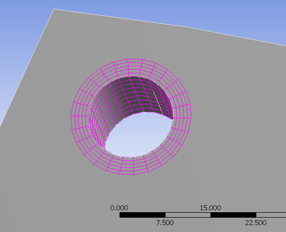 ANSYS Model Close Up of Hole