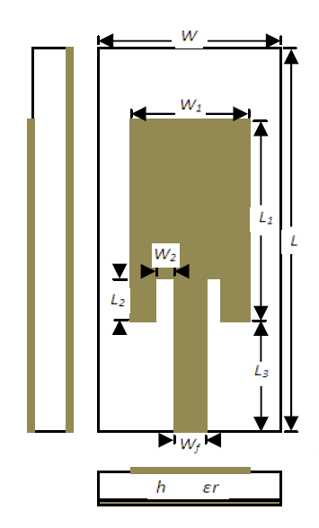 Figure 1 – Planar Inset Fed Microstrip Patch Antenna Structure