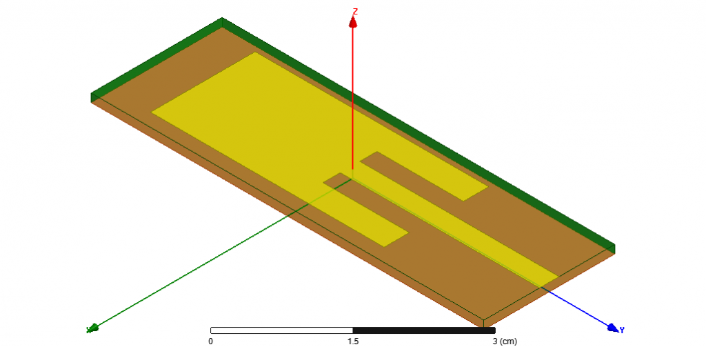 Figure 2 – Planar Inset Fed Microstrip Patch Antenna Model using the ANSYS Electronics Desktop