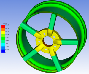 Thickness distribution across composite wheel hub modelled in ANSYS Composite PrePost