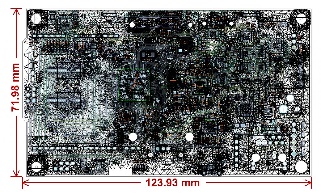 Final mesh of the PCB after adaptive refinement